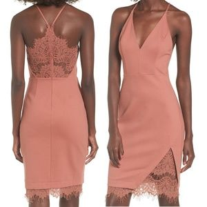 ASTR THE LABEL Lace Sexy Plunging Bodycon Dress